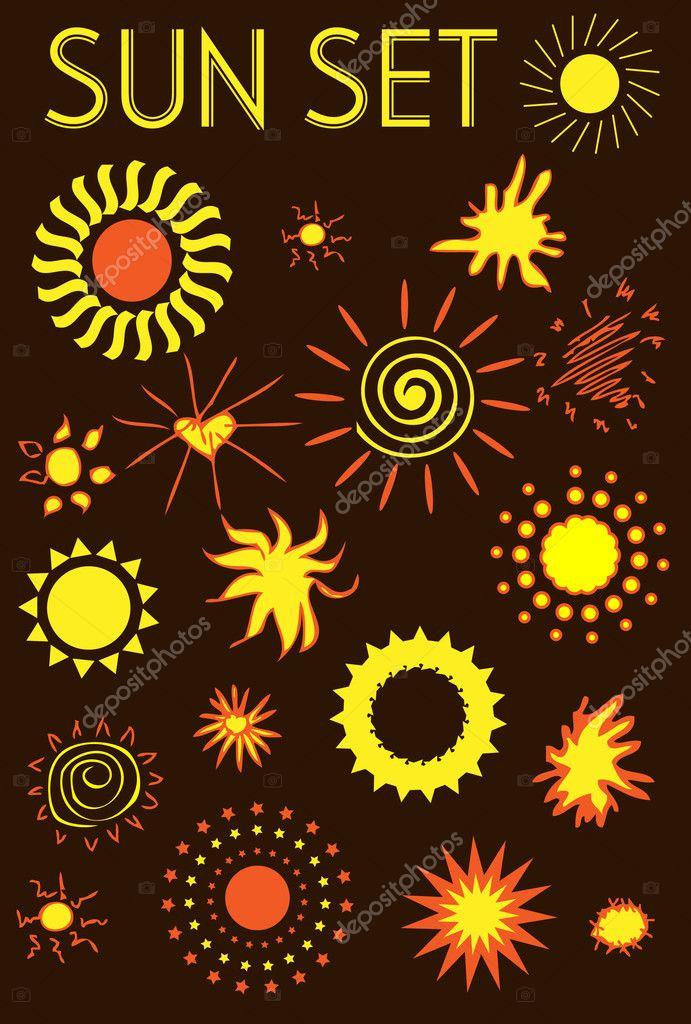 Big sun icons set,