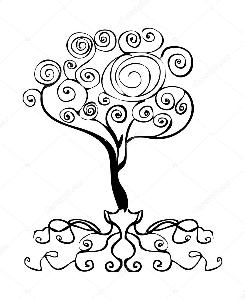 tattoo tree decor element, emblem, curl d