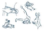 Mädchen Tag Sport Fitness Wappen Design-Elemente