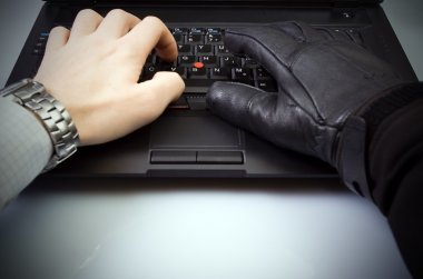 Computer theft on laptop keyboard
