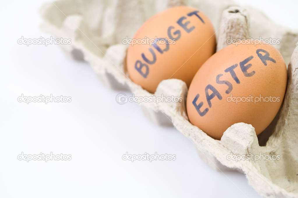Budget Easter eggs in paper box