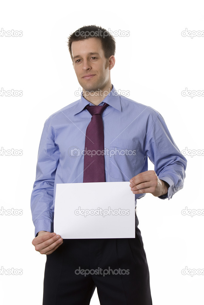 Confident business man holding a blank paper
