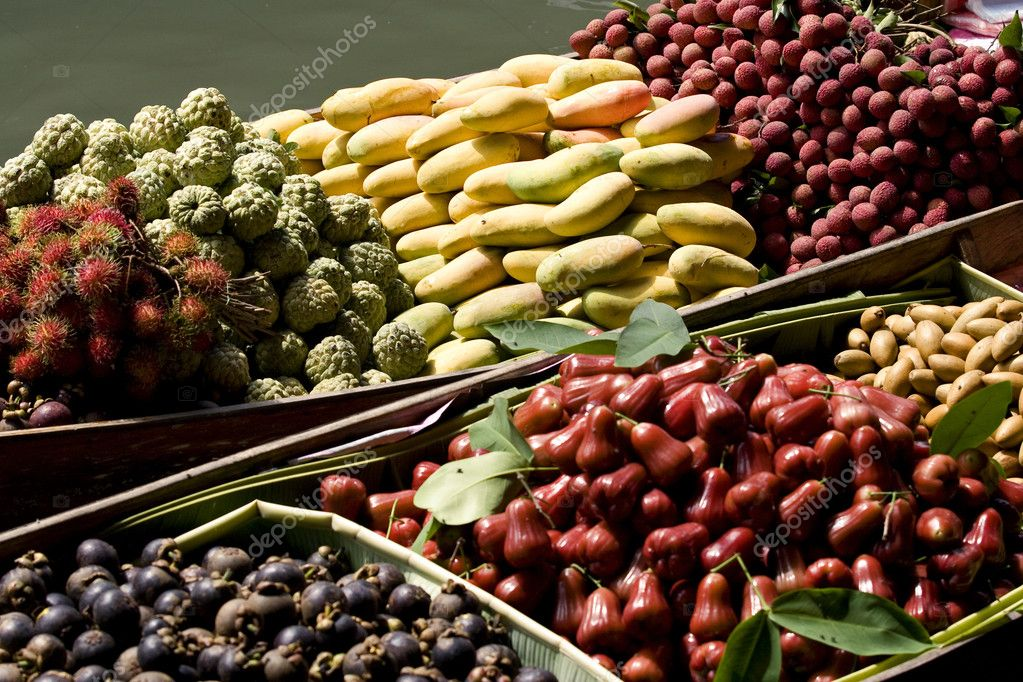 Fruit for sale on a boat at the floating