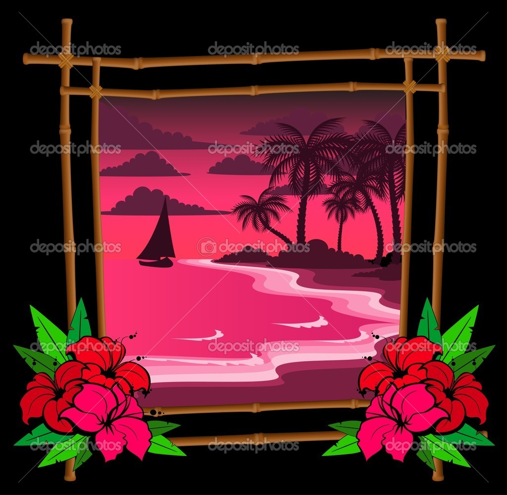Palm tree vector in bamboo frame