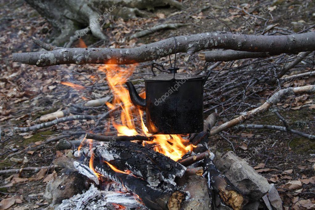 Kettle on a fire