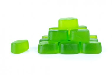 Pyramid maked from green fruit jellies