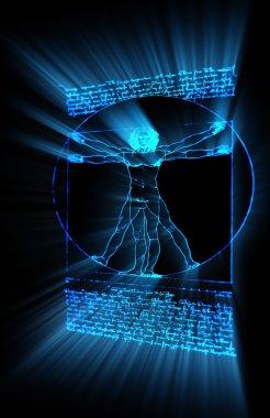 Vitruvian Man in neon