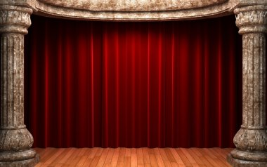 Red velvet curtains behind the stone