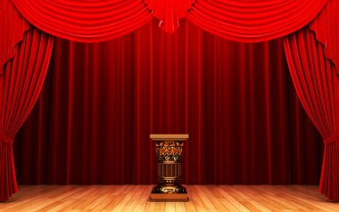 Red velvet curtain and Pedestal