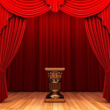 Red velvet curtain and Pedestal