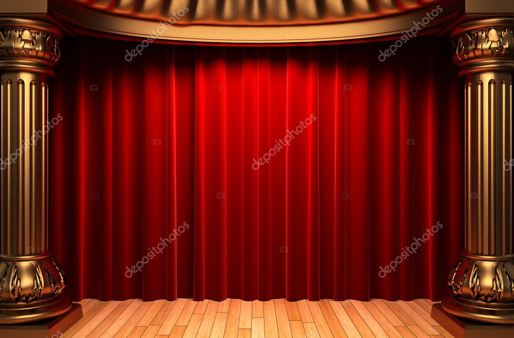 Red velvet curtains behind the gold