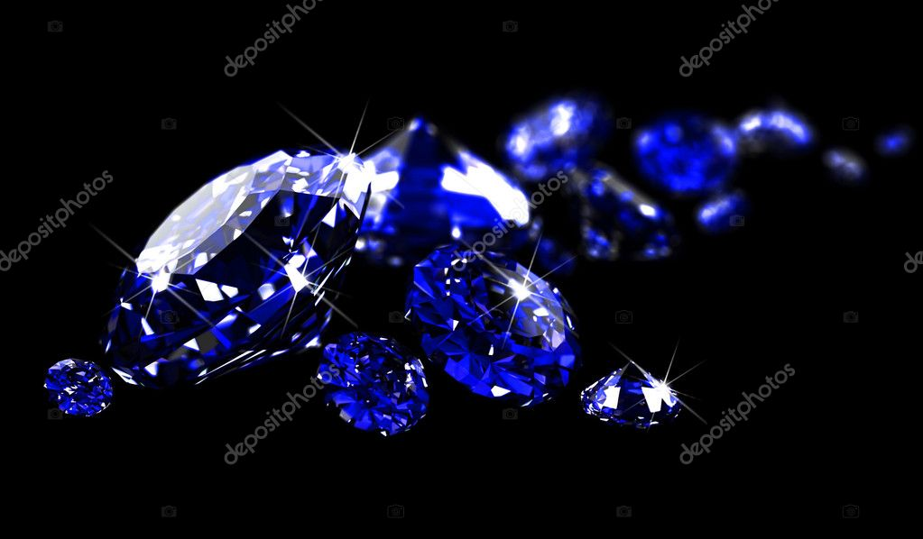 Sapphires on black surface
