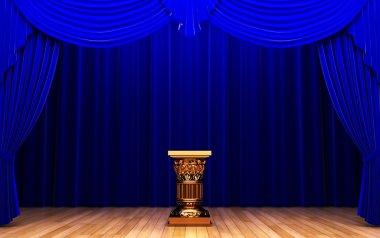 Blue velvet curtain and Pedestal