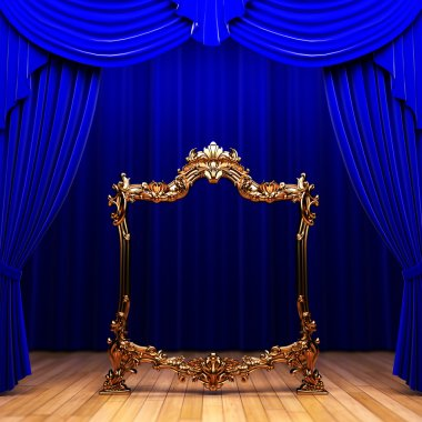 Blue curtains, gold frame