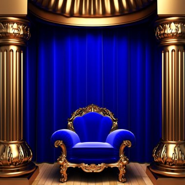 Blue velvet curtains and chair