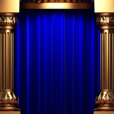 Blue velvet curtains behind the gold