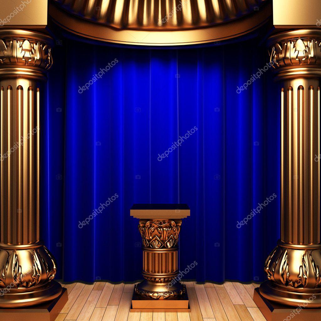 pi destal de rideaux or velours bleu photographie icetray 1733718. Black Bedroom Furniture Sets. Home Design Ideas