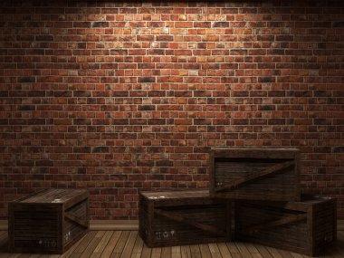Illuminated brick wall and boxes