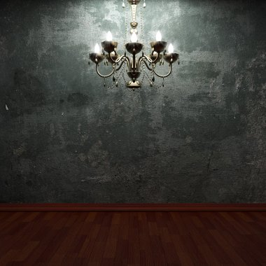 Old concrete wall and chandelier