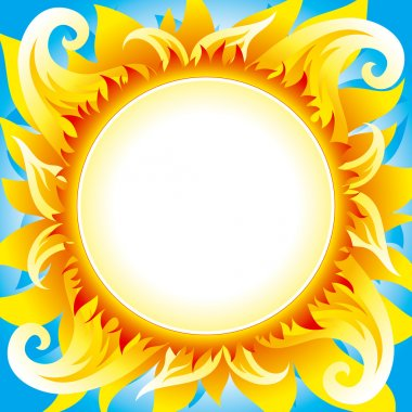 Fiery sun vector background