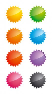 Glossy star-shaped labels