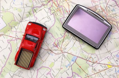 GPS and car on map