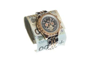 Luxury gold watch around banknotes