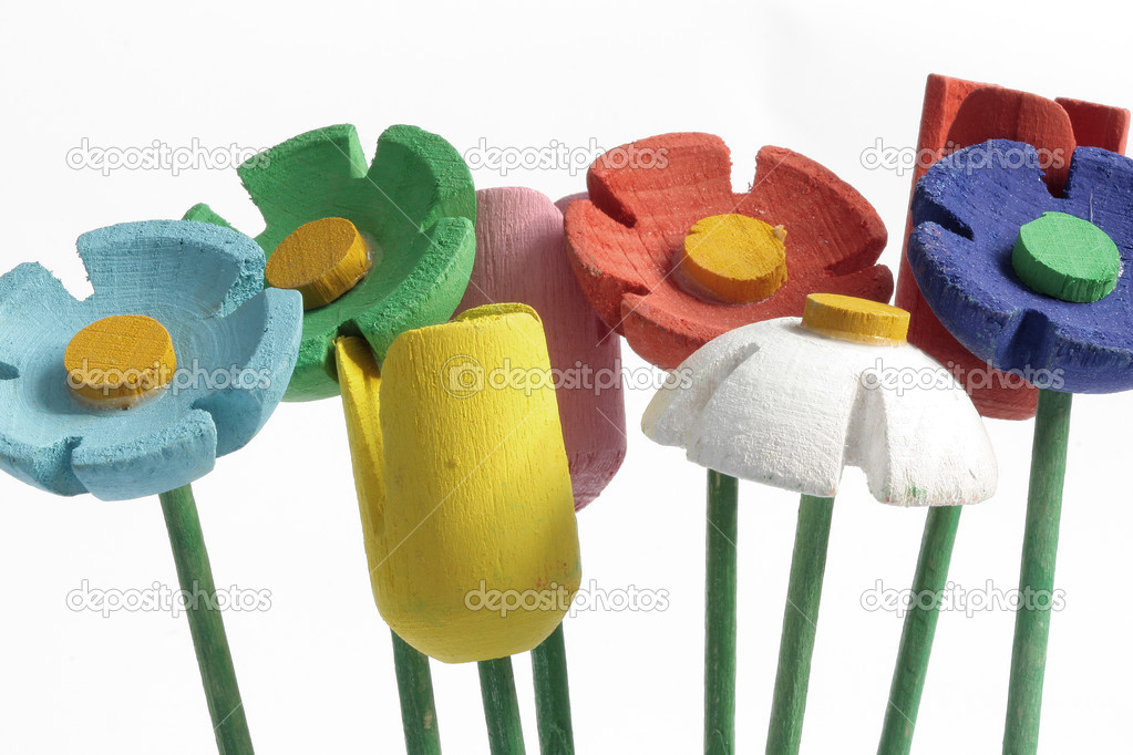 Colored flowers made of wood