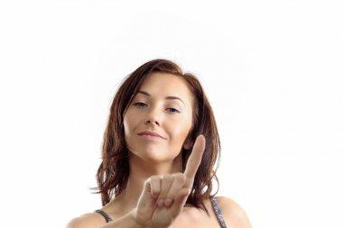 A woman showing sign ban, say NO!