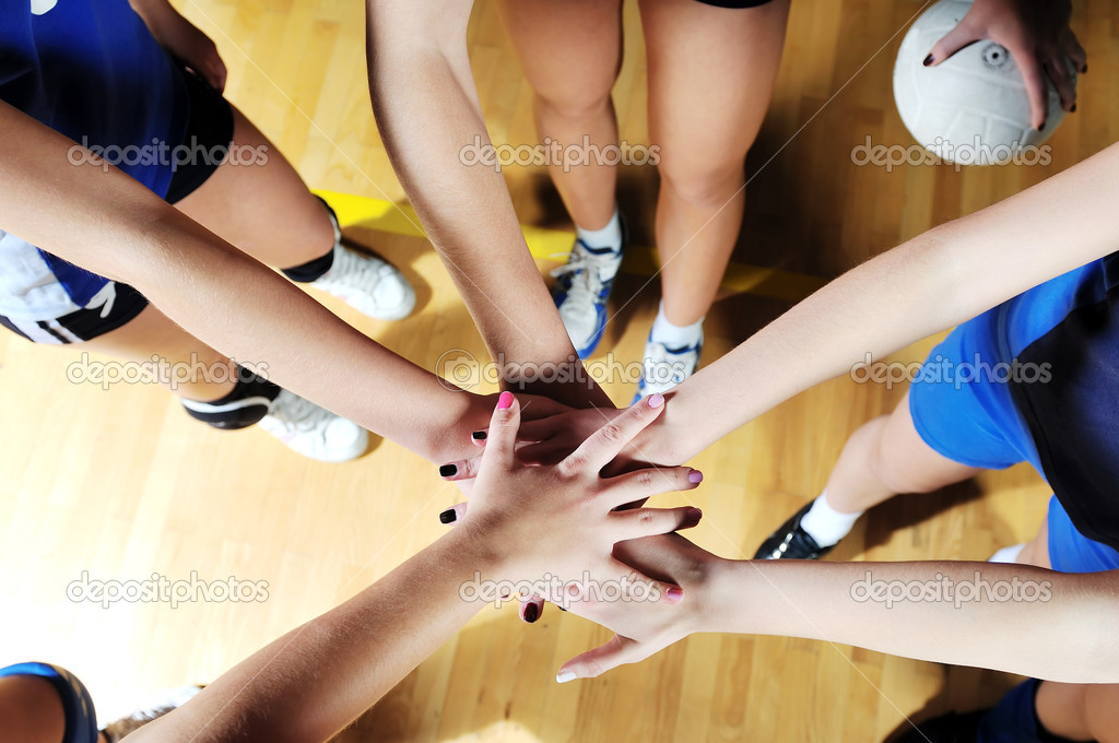 Volleyball sport , girls playing