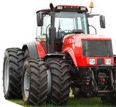 neuer roter Traktor mit Doppelrädern