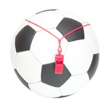 Soccer concept, ball with whistle