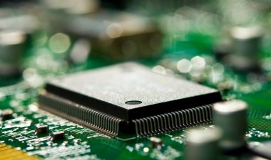 Chip on green circuit board