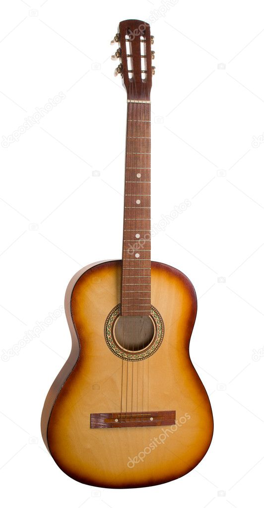 Close-up acoustic guitar, isolated on white