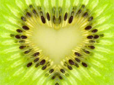 Green heart from kiwi