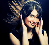 Fotografie Beautiful Headphones Girl
