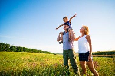 Family having fun outdoors