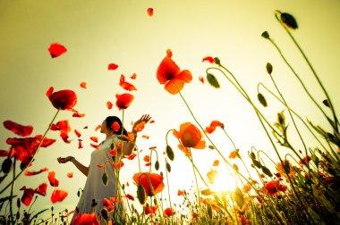 Girl stands in poppy field stock vector