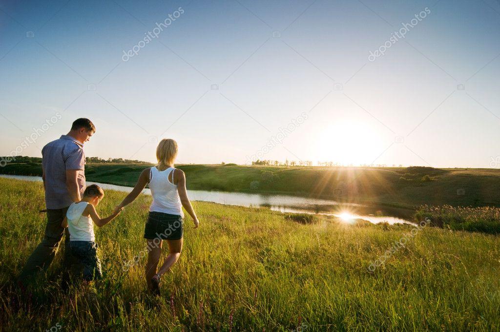 Happy family having fun outdoors stock vector