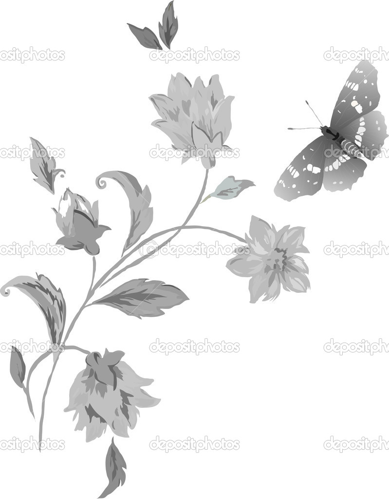 Butterflies and flowers in grey