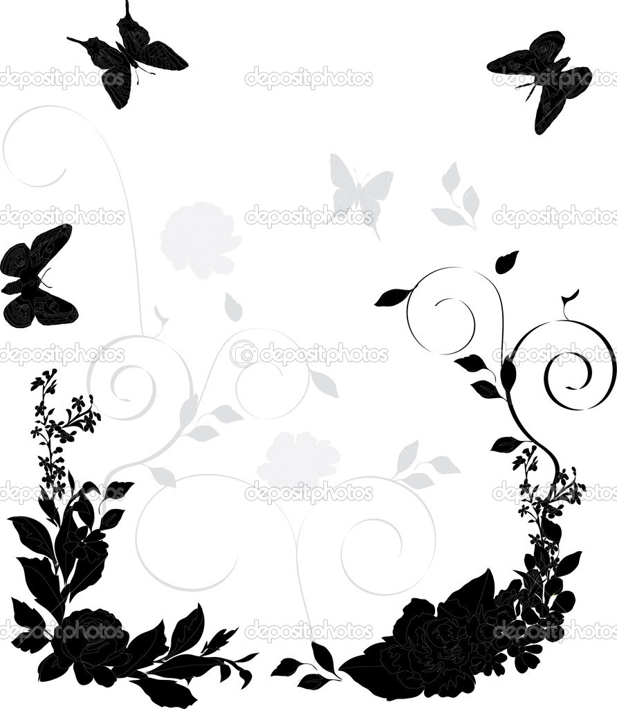 Black and gray floral decoration