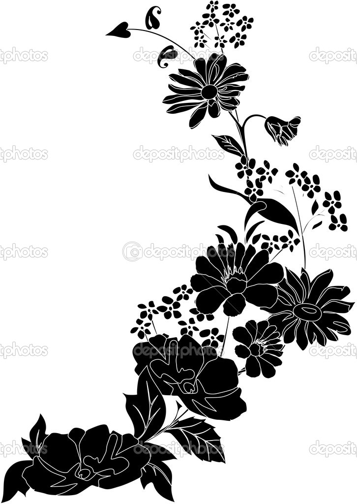 Silhouette with grass and flower corner