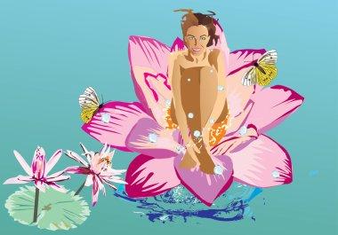Girl on lotus flower