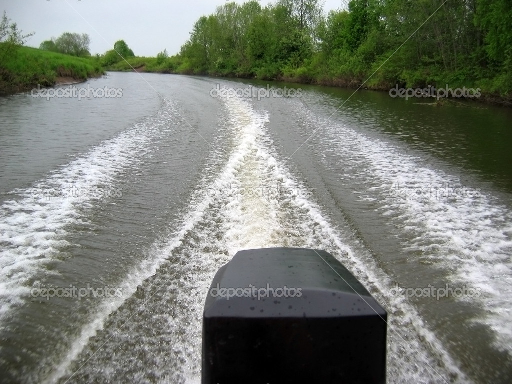 Trace on water from motor boats