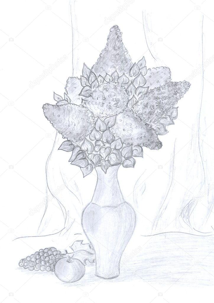 Natürmort Karakalem Stok Foto Nadyaus 1647376