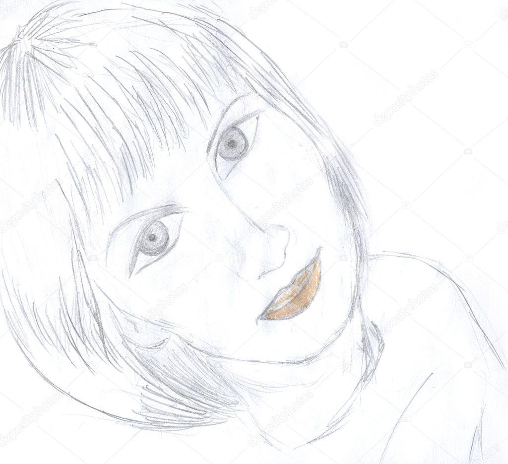 Rysowanie Portretu Dziewczynki Zdjęcie Stockowe Nadyaus 1647513