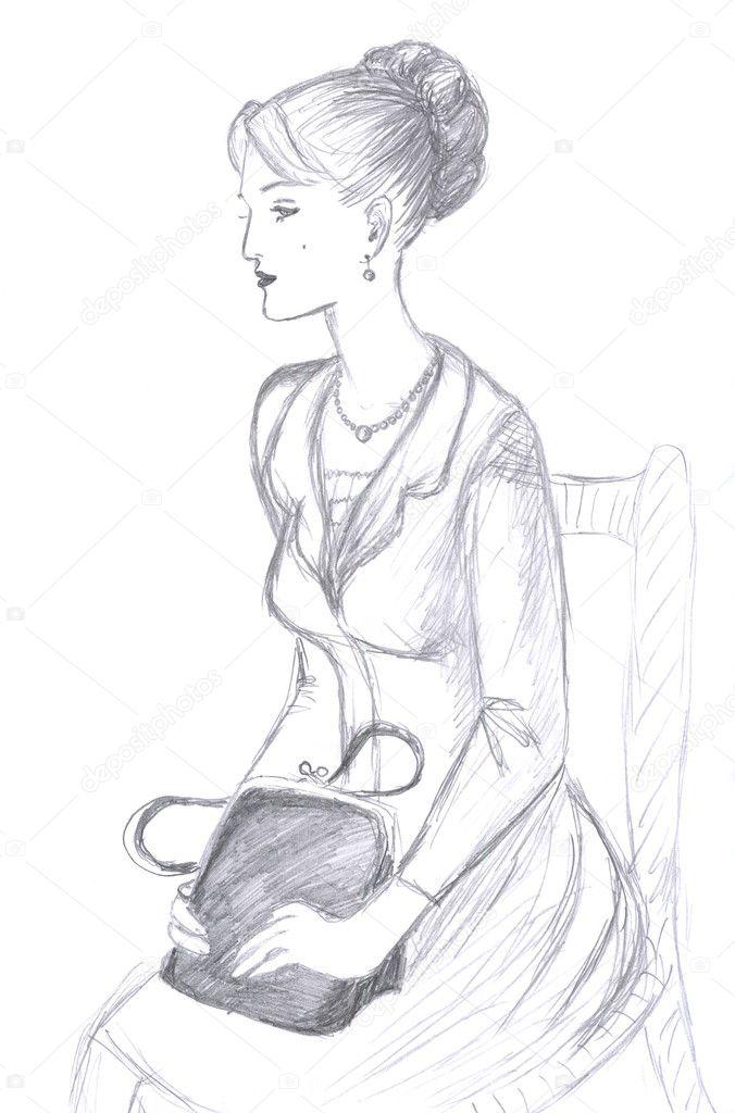 Stuhl bleistiftzeichnung  Frauen, skizzieren — Stockfoto #1706650