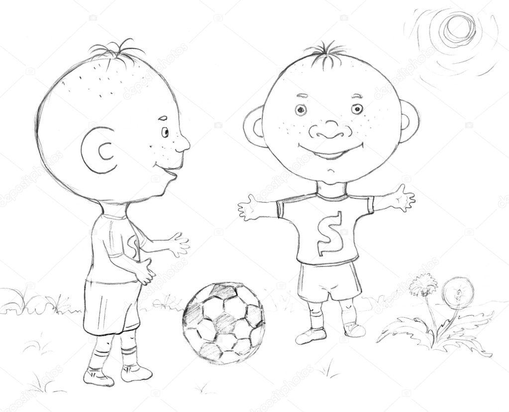 Junge Fussballspielen Skizze Stockfoto C Nadyaus 2080262