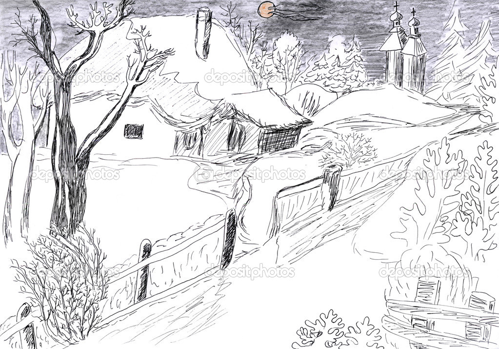 Winter village drawing