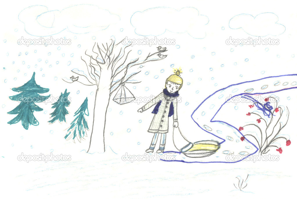 Child walk with sledge, drawing
